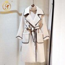 SMTHMA Лидер продаж Женское шерстяное пальто Высокое качество зимняя куртка женская тонкая шерстяная длинная кашемировая куртка кардиган элегантные куртки