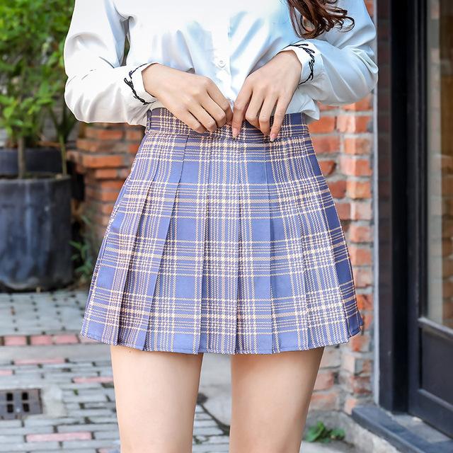 Harajuku Short Skirt New Korean Plaid Skirts Women Zipper High Waist School Girl Pleated Plaid Skirt Sexy Mini Skirt Plus Size 1