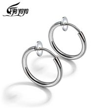 EyeYoYo Silver Black Elegant Simple Retractable Earrings Women Stainless Steel Brincos