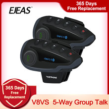 Vnetphone v8 vs intercomunicador, 2 peças, à prova d' água, grupo de 5 vias, conversa, bluetooth, capacete de motocicleta, fone de ouvido, rádio fm, nfc 1.2km para 5 pilotos