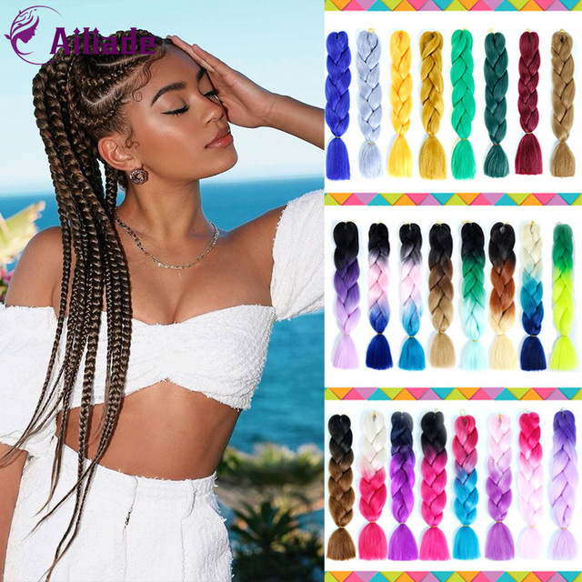 24 Inch Long Ombre Synthetic Braiding Kanekalon Jumbo Braids Hair Extensions African White Black Women Blonde Pink Blue