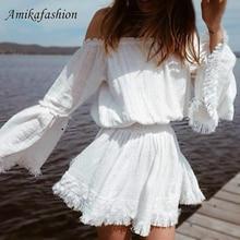 White Off Shoulder Lace Sexy Dress 2019 Women Autumn Winter Tassel Fringe Short Elegant Embriodery Holiday Vestidos