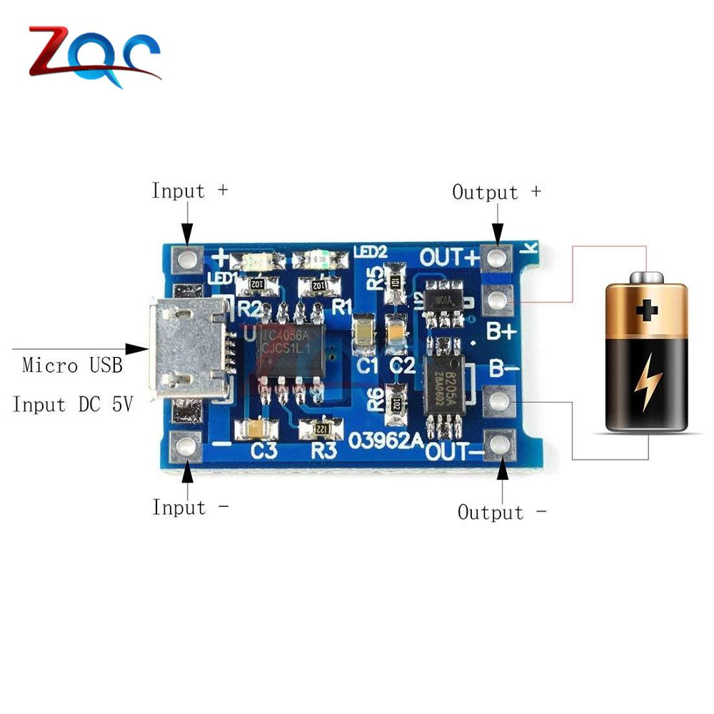 2x TP4056 5V 1A Lithium Battery Charging Board Charger Module Micro USB LY