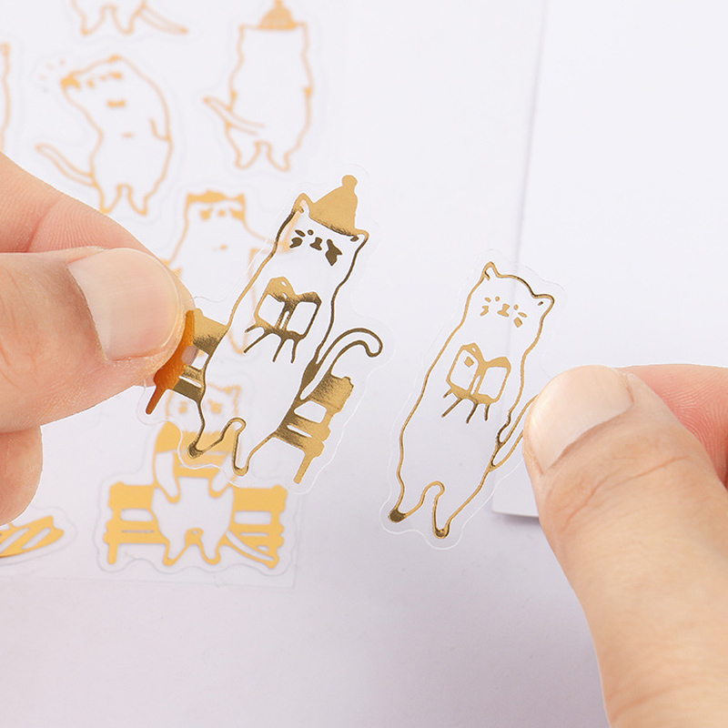 6 Sheets /Pack Golden Foiled Lovely Cats DIY Decorative Stickers Diary Phone Decor