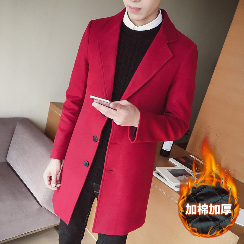 Autumn And Winter New Mens Fashion Solid Color Boutique Casual Business Long Section Woolen Coat Male Thick Warm Overcoat Jacket