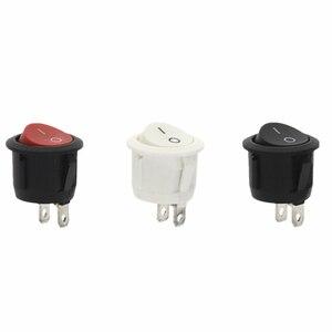 Image 1 - 100 pièces 20mm diamètre petits interrupteurs à bascule ronds noir Mini rond noir blanc rouge 2 broches interrupteur à bascule marche arrêt