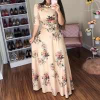 Женское летнее платье 2019, повседневное длинное платье с коротким рукавом, богемное Платье макси с цветочным принтом, элегантные платья