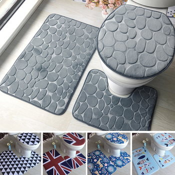 3Pcs/set Bathroom Mat Set Flannel Anti-Slip Kitchen Bath Mat Carpet Bathroom Toliet Rug Washable Tapete Banheiro Floor Mats