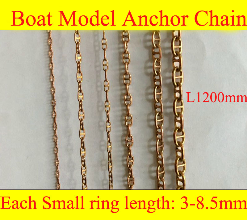 1PC Marine Use Length 1.2m Copper Anchor Chains Railing  16-200 Ratio Simulation Cable Link  For Model RC Boat Parts