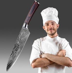 Японские шеф-ножи 7CR17 440C, комплект кухонных дамасских ножей 8 дюймов, нержавеющая сталь, для нарезки ломтиков, мяса, сантоку, топорик