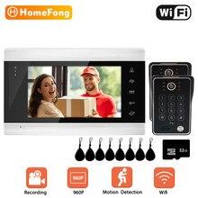 Homefong 7 Polegada wi fi sistema de intercomunicação telefone da porta vídeo com 2 câmeras doorbells com sensor movimento para casa sem fio