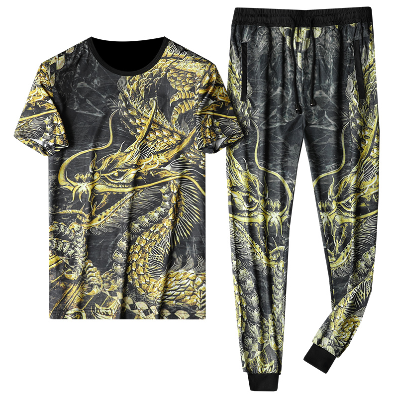 Men Sets 2020 Summer 2pc Tracksuit T Shirt + Pants Mens Sportswears Beach Tee Shirts Male Chinese Style Print Sweat Suit Set