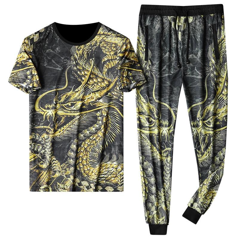 Men Sets 2020 Summer 2pc Tracksuit T Shirt + Pants Mens Sportswears Beach Tee Shirts Male Chinese Style Print Sweat Suit Set