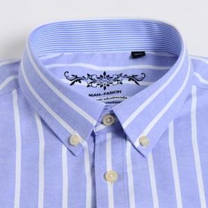 Image 2 - Herren Oxford Langarm Überprüfen Plaid Shirt Patch Brust Tasche Regelmäßige fit Checkered/Striped Printed Casual Taste unten Shirts