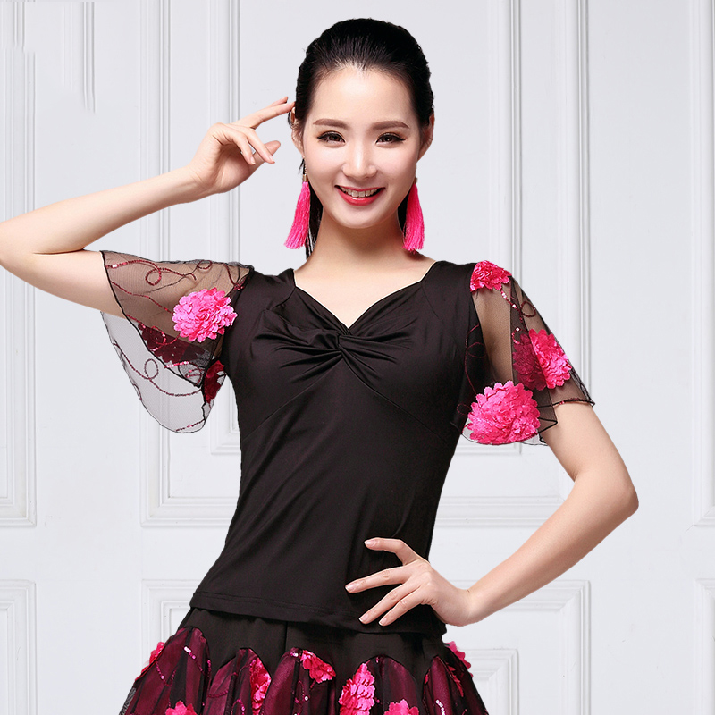 Ballroom Dance Shirts Lady Mesh Flower Short Sleeve Top Flamenco Modern Dancing Clothes Latin Practice Performance Wear DNV11934