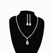 Elegant and exquisite ladies long water drop rhinestone white pink necklace earring set bride wedding fashion jewelry prom цена 2017