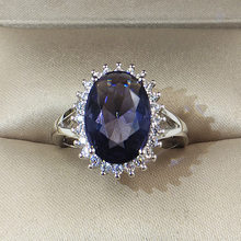 Prinses Kate Blue Gem Gemaakt Blue Crystal Silver Wedding Finger Crystal Ring Merk 925 sterling zilveren Sieraden voor Vrouwen(China)