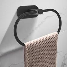 Ванная комната 304 нержавеющая сталь настенный полотенцесушитель кольцо стойка-держатель для хранения черный