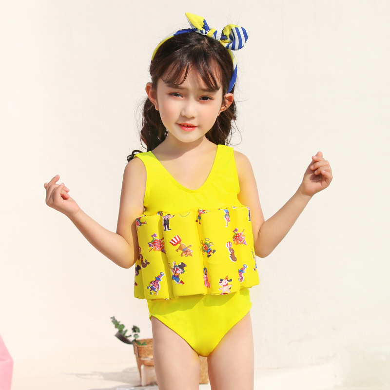 Girls CHILDREN'S Buoyancy Swimsuit With Swim Cap BABY'S Bathing Suit Cartoon Baby CHILDREN'S Triangular One-piece Floating Swimw