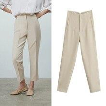 Za 2021 Printemps Costumes Pantalons Taille Haute Pantalon Femmes Mode Bureau Beige Pantalon Chic Bouton Zip Élégant Rose Décontracté Femme Pantalon
