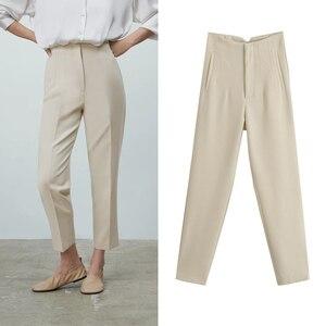 Женские брюки с завышенной талией Za, повседневные офисные бежевые брюки с молнией на пуговицах, элегантные розовые брюки для весны, 2021