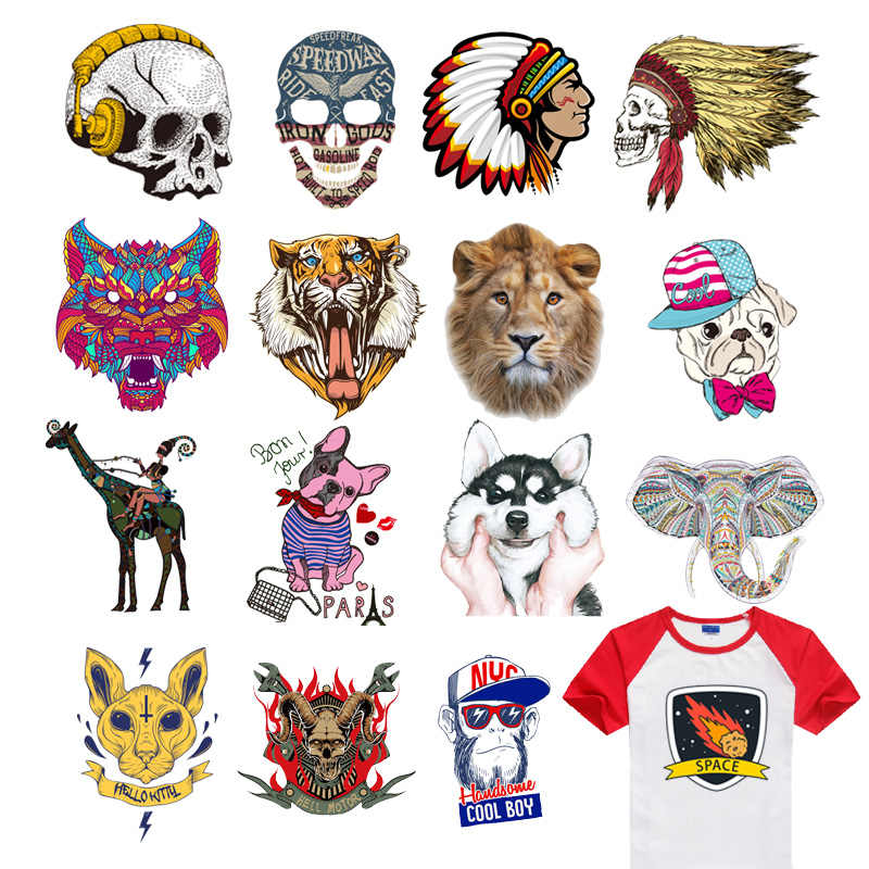 Iron on Fierce Beast Tiger Lion Patches For Clothes Child DIY T-shirt Applique Heat Transfer Vinyl Letter Animal Patch Sticker F
