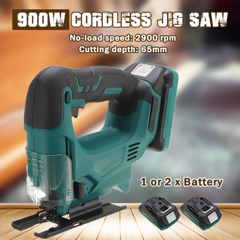 900W Cordless Jig Saw Portable Multi-Function Electric Saw Blades Metal Wood Metal Jigsaw Power Tools With Li-Ion Battery