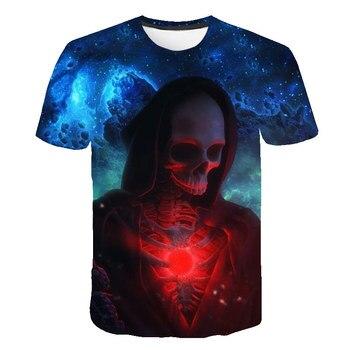 Moda para hombre de manga corta Tops cuello redondo Camiseta 3D estampado moda calaveras camisa 2019 última moda hombres Casual transpirable Tops Shir