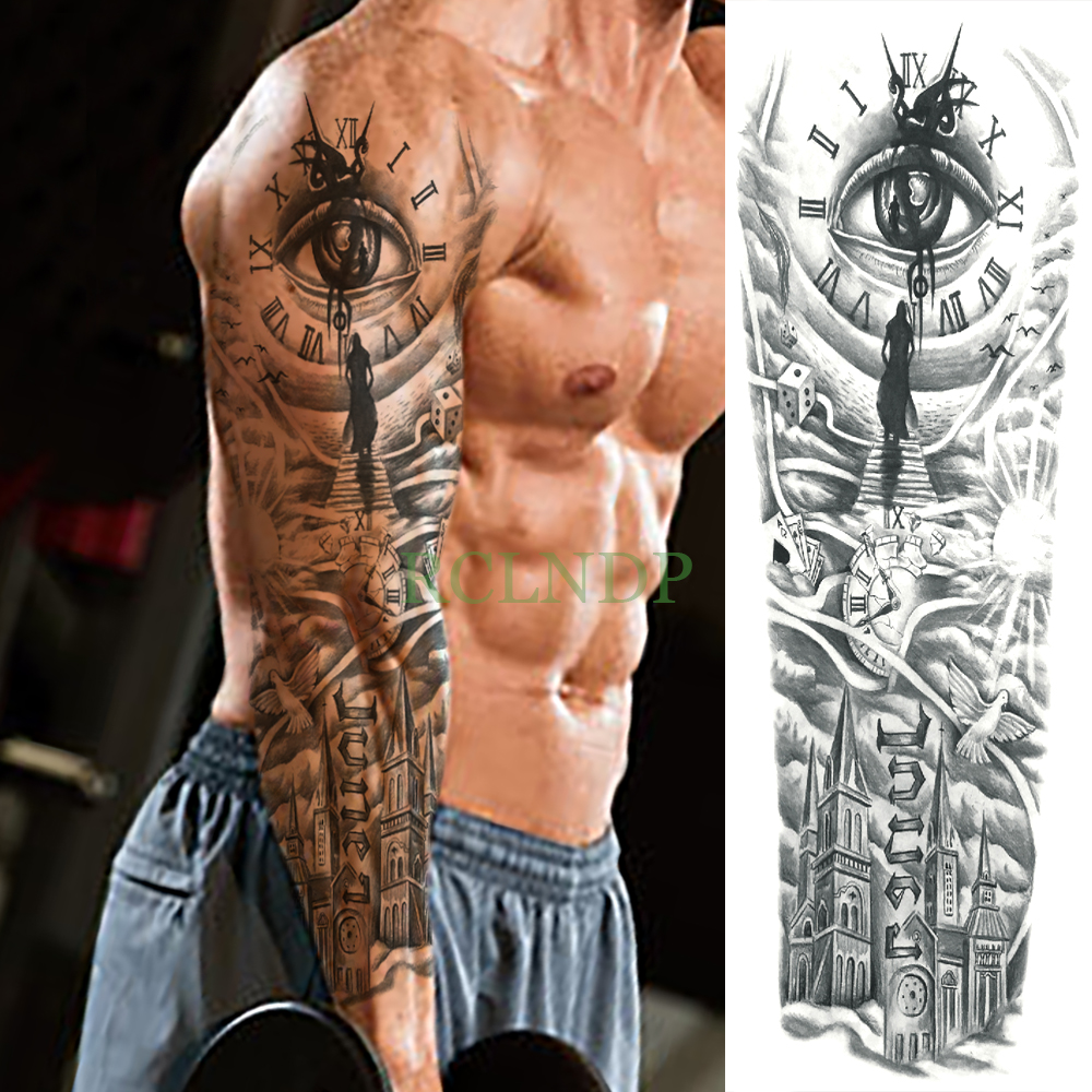 Waterproof Temporary Tattoo Sticker eye clock bird Pagoda full arm large size fake tatto flash tatoo sleeve tato for men women