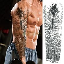 Водостойкая временная татуировка наклейка глаз часы птица пагода полная рука большой размер поддельные татуировки флэш татуировки рукава Тато для мужчин и женщин