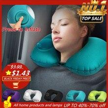 Новинка, переносная мягкая u-образная подушка для путешествий, подушка для автомобиля, самолета, надувная подушка для шеи, аксессуары для путешествий, защита