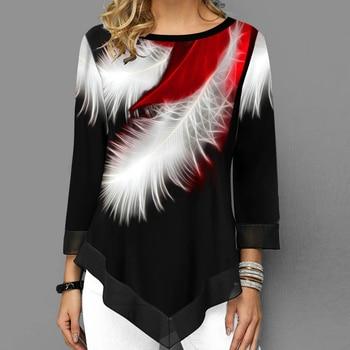 Women Elegant Blouse Patchwork Tops Long Sleeve Round Neck Female Print Shirt Casual Loose Tee Shirt Plus Size 5XL
