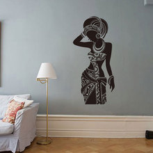 Africa Art Decor Wall Decal Tribal African Black Woman Boho Stickers Bedroom Sticker XL100