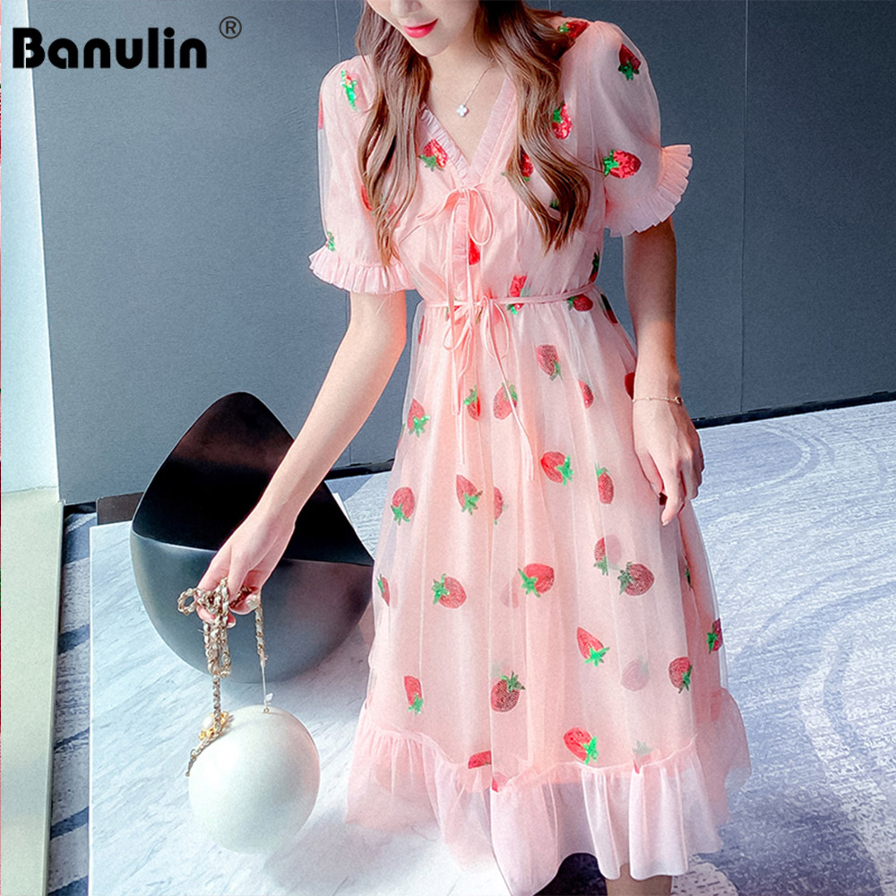 Banulin 2020 New Summer Sweet Strawberry Embroidery Pink Mesh Dress Women's Sexy V-neck Bow Ruffles Mori Girl Tunic Dress