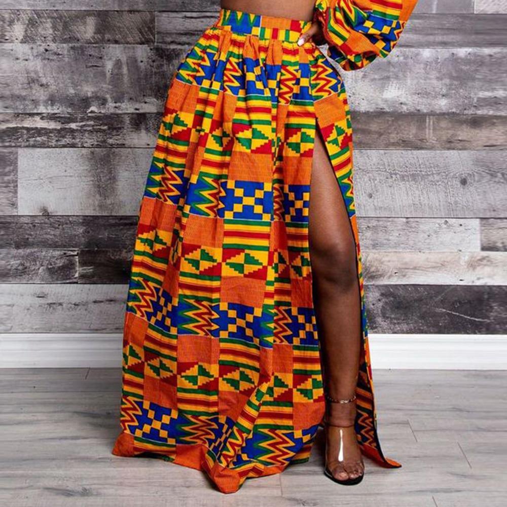 African Print 2020 News Dashiki Bazin Wax Robe High Waist Split Skirts African Dresses For Women Sexy Skirt Traditional Clothing