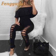 FENGGUILAI  New Autumn Rompers Women Jumpsuit Bodysuits Slash Neck Hole Lotus Leaf Jumpsuits Solid