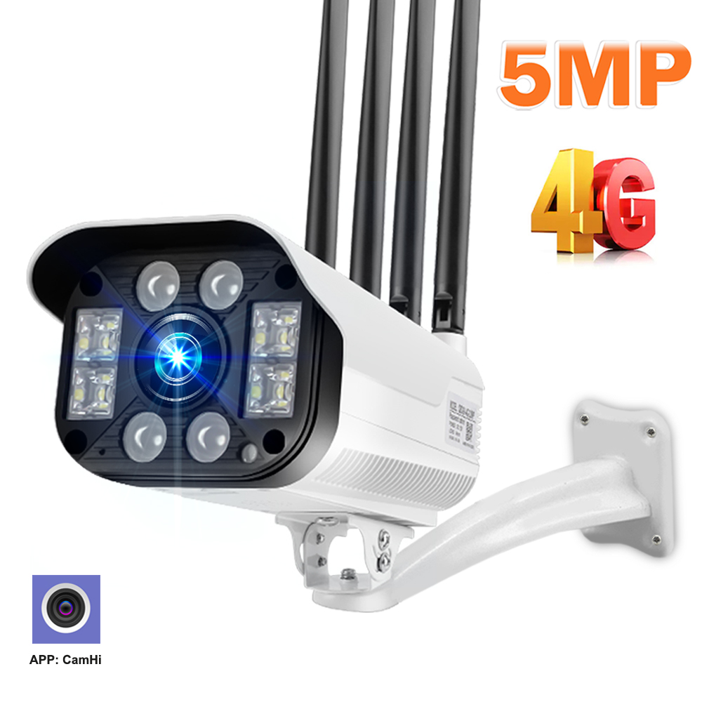 5mp hd 4g câmera ip 1080p de segurança ao ar livre 3g cartão sim câmera cctv luz das estrelas visão noturna vigilância bala câmera h.265 camhi