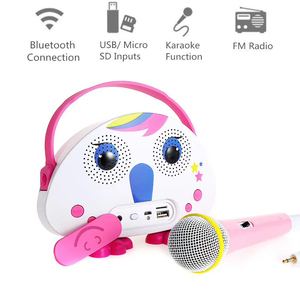 Outdoor Portable Bluetooth Wireless Karaoke Machine Stereo Speaker Microphone for Kid with TF Card FM Radio