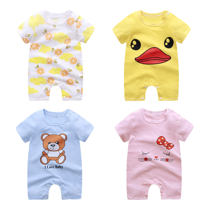 Summer Baby Rompers Cotton Boy Girl Clothes One Piece Pajamas 0-24 Months Kids Knitted Cartoon Short-sleeved Jumpsuit Outfits