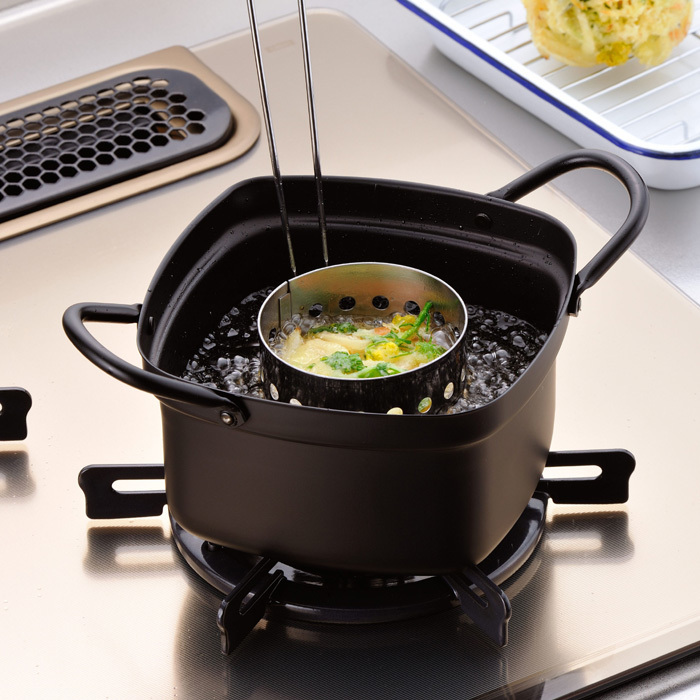 Japanese Style Kitchen Square Small Pot Deep Frying Pan Fried Dishes Health Tempura Open Flame Induction Cooker Fryer