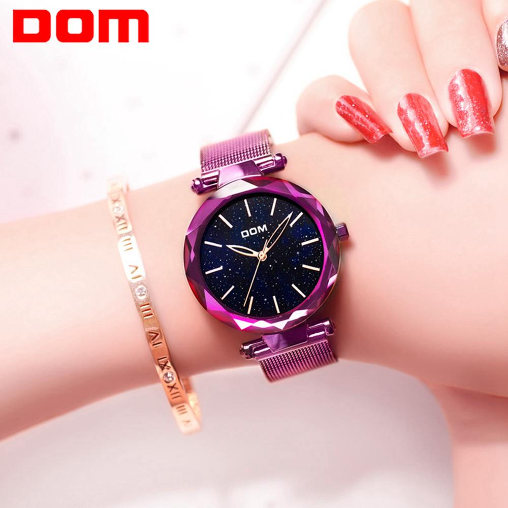DOM Luxury Watches Women Fashion Stainless Steel Wrist Watch Ladies Clock Creative Starry sky Women Quartz Watch G-1244PK-1M