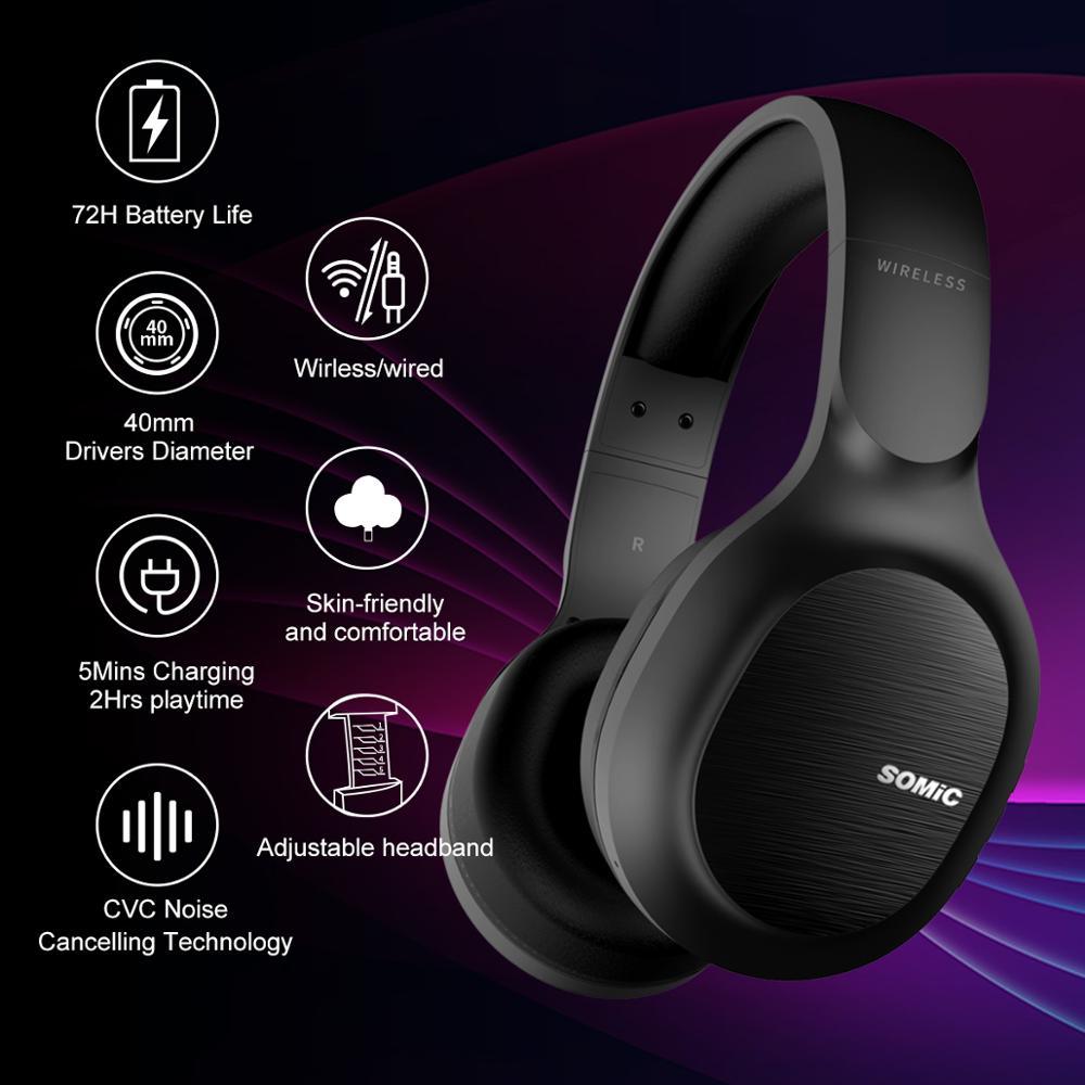 SOMiC Bluetooth наушники Беспроводной 72 часов проигрывания CVC8.0 Шум снижение Hi-Res сертифицирована звуковая гарнитура удобно носить MS300