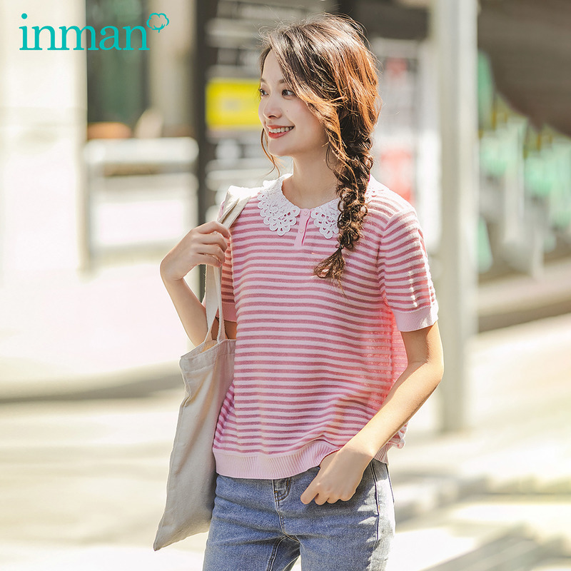 INMAN 2020 Spring New Arrival Secondary Color Cross Stripe Embroidered Lapel Splicing Short Sleeve Knitwear