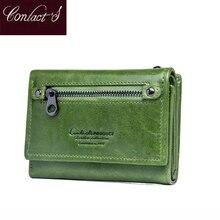 Contato clip s mulheres carteira clipe de couro genuíno senhoras embreagem carteiras anti rfid luxo dinheiro bolsa verde moeda cartera mujer