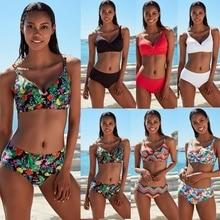 Seksi Biquini Estampa Branco Praia Mujer Mayo Kadınlar mayo kadın mayosu Feminino 2019 bikini seti Beyaz Plaj Aşınma Push Up