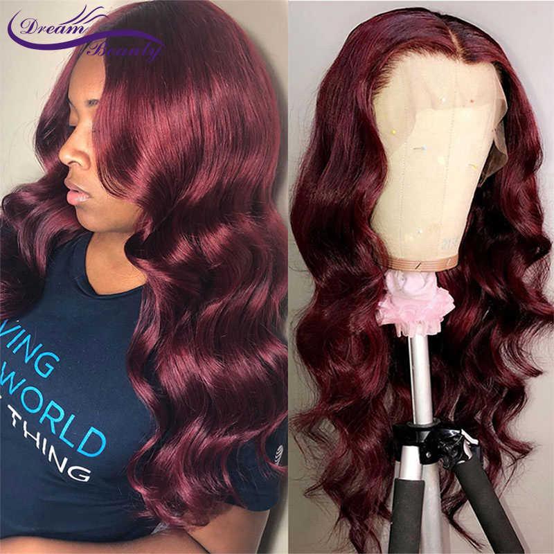 1b/99J цветные парики из натуральных волос на кружеве 13X4 темно-бордовый парик на кружеве предварительно сорванный бразильский парик из волнистых волос Remy Dream beauty