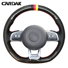 CARDAK Carbon Fiber Leather Black Leather Car Steering Wheel Cover for Volkswagen Golf 7 GTI Golf R MK7 VW Polo GTI цена 2017