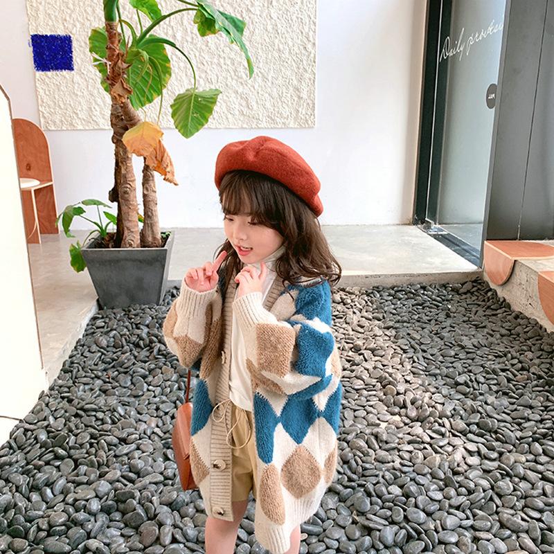 Girls Coat Toddler Kids Long Sleeve Diamond Pattern Oversize Long Sleeve Sweater Cardigan Kids Long Length 2019 Winter Clothes