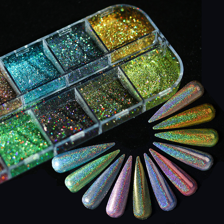 12 Grids Laser Nail Glitter Holographic Powder Sequins Charms Flake Paillette Sparkly Pigment Dust Nail Art Decorations 0