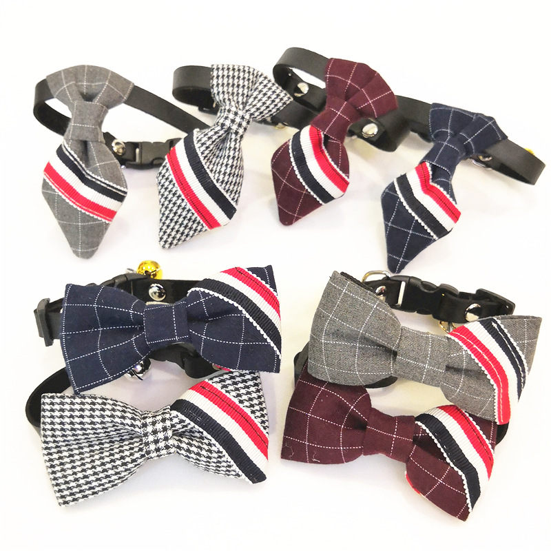 INS Style Red And Blue Pet Collar Dogs And Cats Butterfly Bowtie Bell Pet Supplies